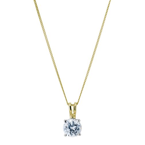 18ct yellow gold 1ct solitaire pendant - Product number 5062861
