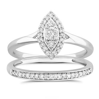 Perfect Fit 9ct White Gold 1/4ct Diamond Bridal Set - Product number 5063078