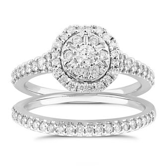 Perfect Fit 18ct White Gold 2/3ct Diamond Bridal Set - Product number 5064422