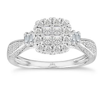 Princessa 9ct White Gold 2/3ct Diamond Ring - Product number 5064775