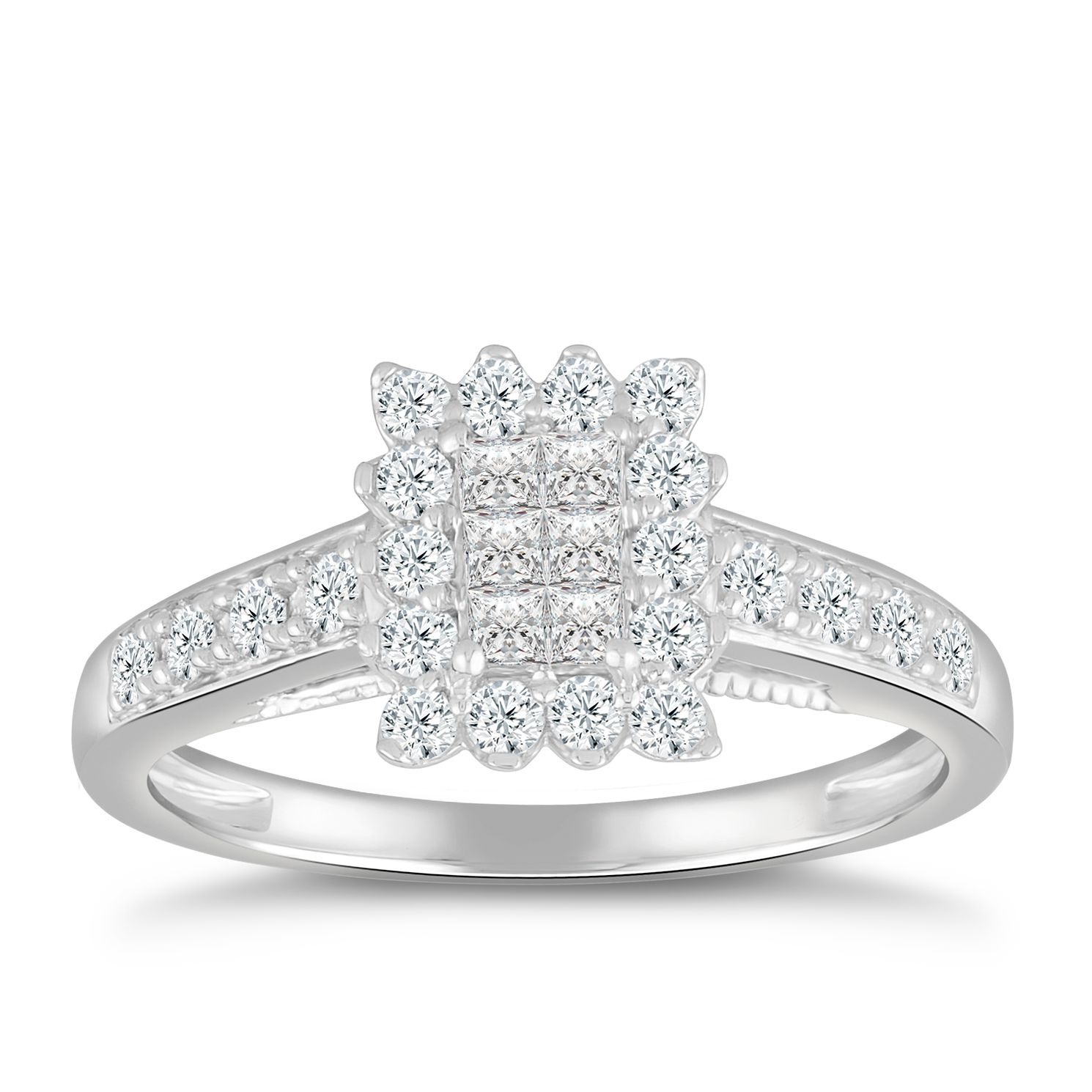 Princessa 9ct White Gold 1/2ct Diamond Cluster Ring - Product number 5065046