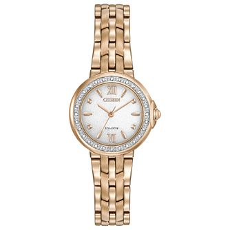 Citizen Eco Drive Ladies' Rose Gold Plated Bracelet Watch - Product number 5066832