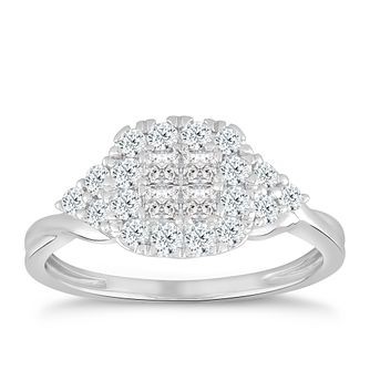 Princessa 9ct White Gold 0.66ct Diamond Cluster Ring - Product number 5067960