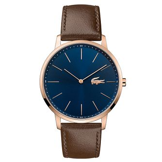 Lacoste Moon Men's Brown Leather Strap Watch - Product number 5068576