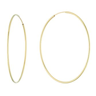 9ct Yellow Gold Large Skinny 32mm Creole Hoop Earrings - Product number 5068762