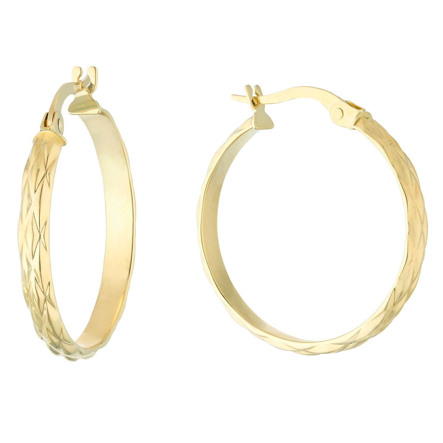 9ct Yellow Gold Criss Cross Creole Hoop Earrings - Product number 5068819