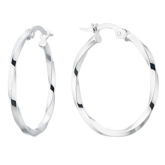 9ct White Gold Fancy Twisted Creole Hoop Earrings - Product number 5068967