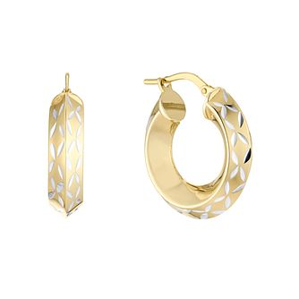Together Silver & 9ct Bonded Gold Diamond-Cut Hoop Earrings - Product number 5068975