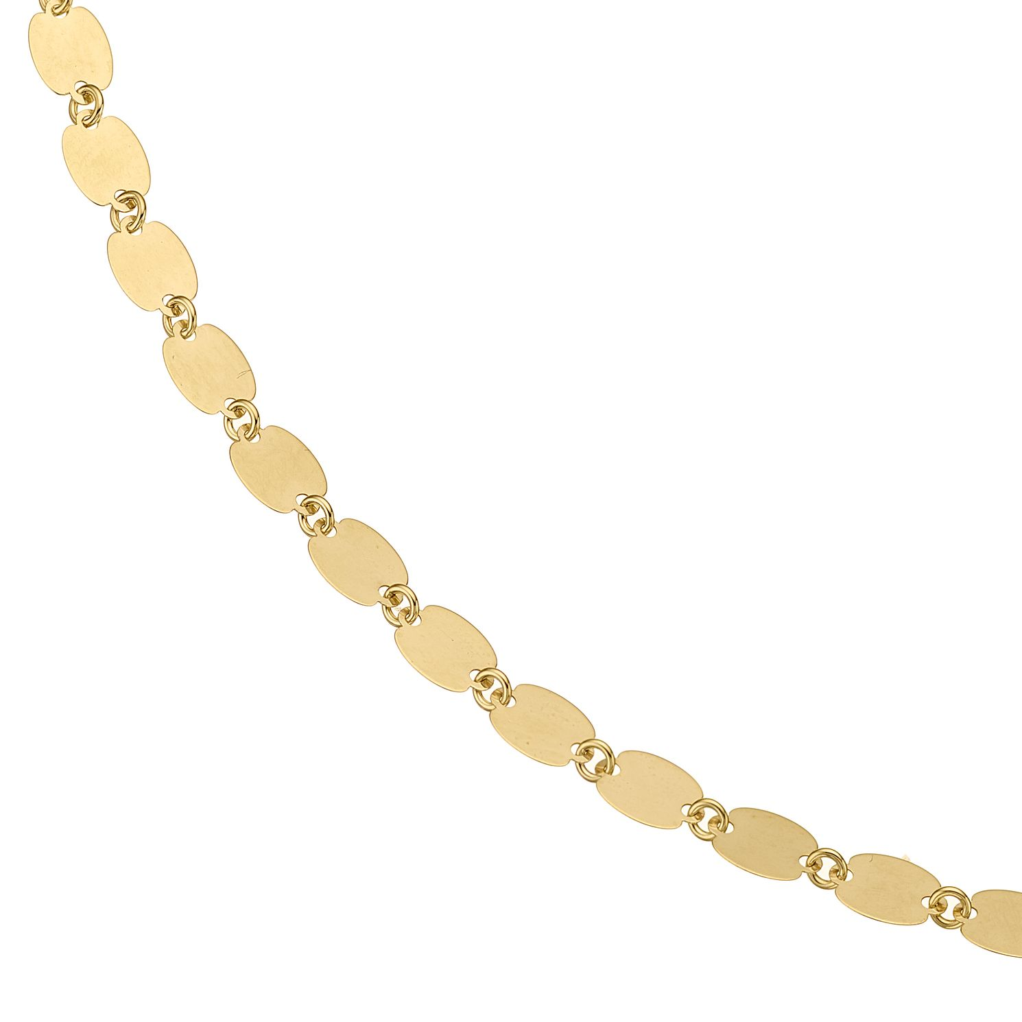 9ct Yellow Gold Oval Disc Necklace - Product number 5069068