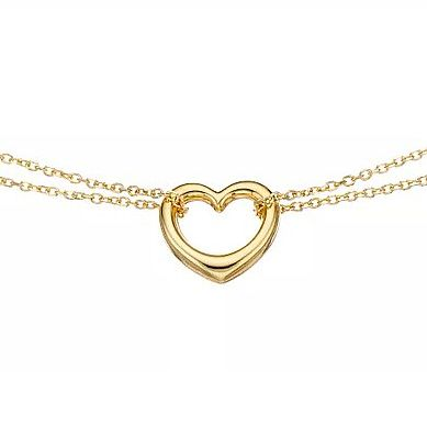9ct Yellow Gold Double Chain Heart Charm Necklace - Product number 5069211