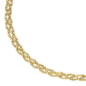 9ct Yellow Gold Beaded Plait Chain Bracelet - Product number 5069416