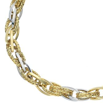 9ct Two Colour Gold Contrasting Link Chain Bracelet - Product number 5069483