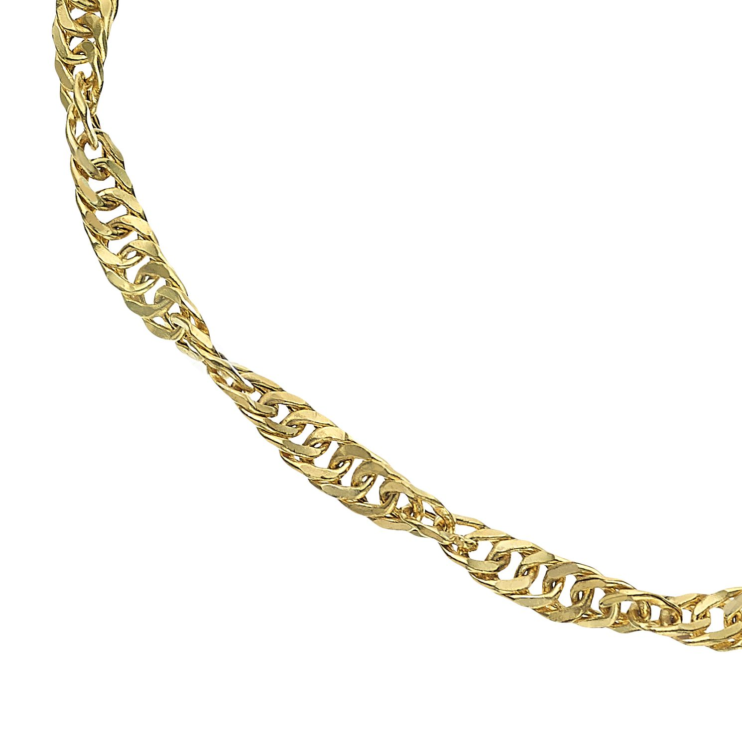 9ct Yellow Gold Diamond-Cut Singapore Chain Bracelet - Product number 5069696