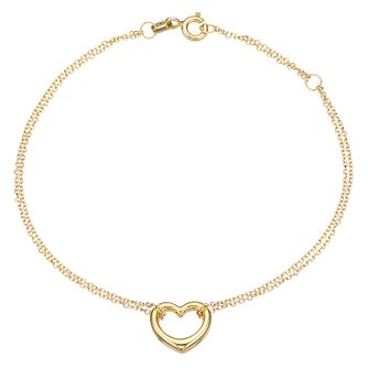 9ct Yellow Gold Double Chain Heart Charm Bracelet - Product number 5069726