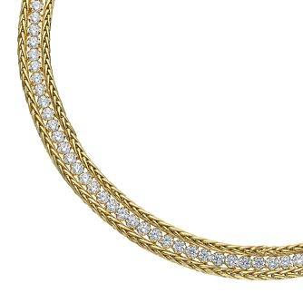 9ct Yellow Gold Cubic Zirconia Fancy 3 Row Bracelet - Product number 5069734