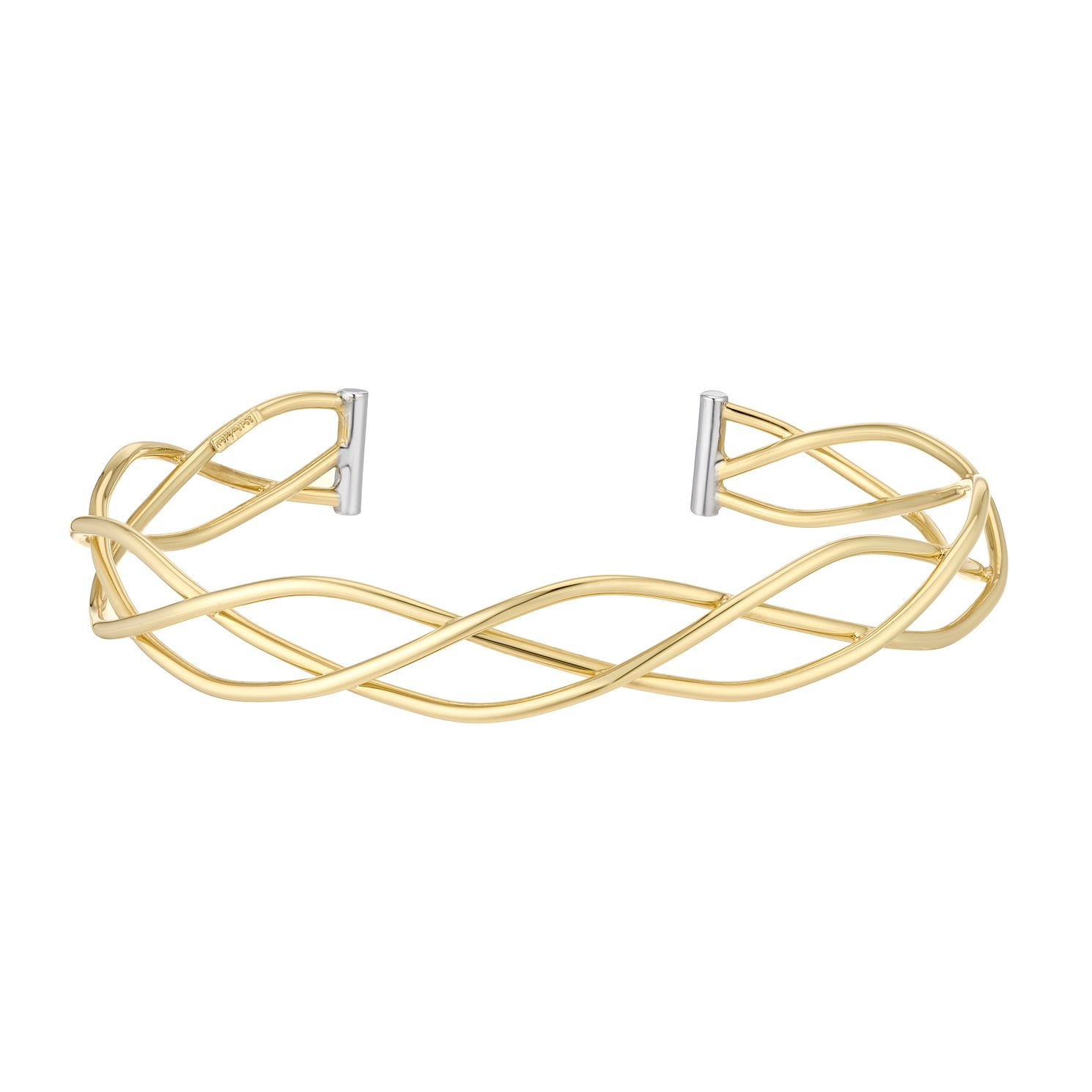 Together Silver & 9ct Bonded Gold Two-Tone Wave Bangle - Product number 5069742
