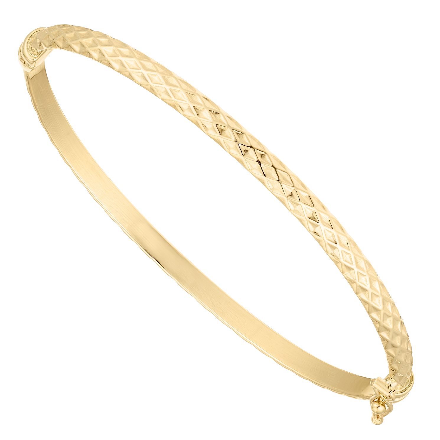 9ct Yellow Gold Criss Cross Hinged Bangle - Product number 5069882