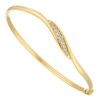 9ct Yellow Gold Cubic Zirconia Wave Hinged Bangle - Product number 5070007