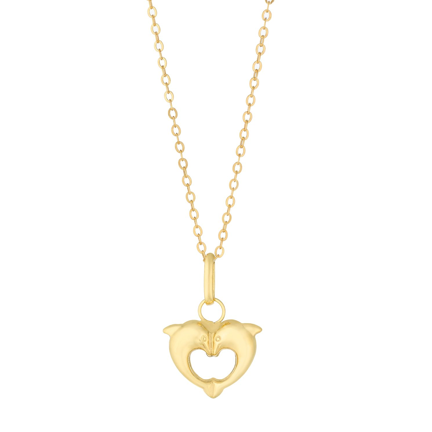 Children's 9ct Yellow Gold Dolphin Heart Pendant - Product number 5070090