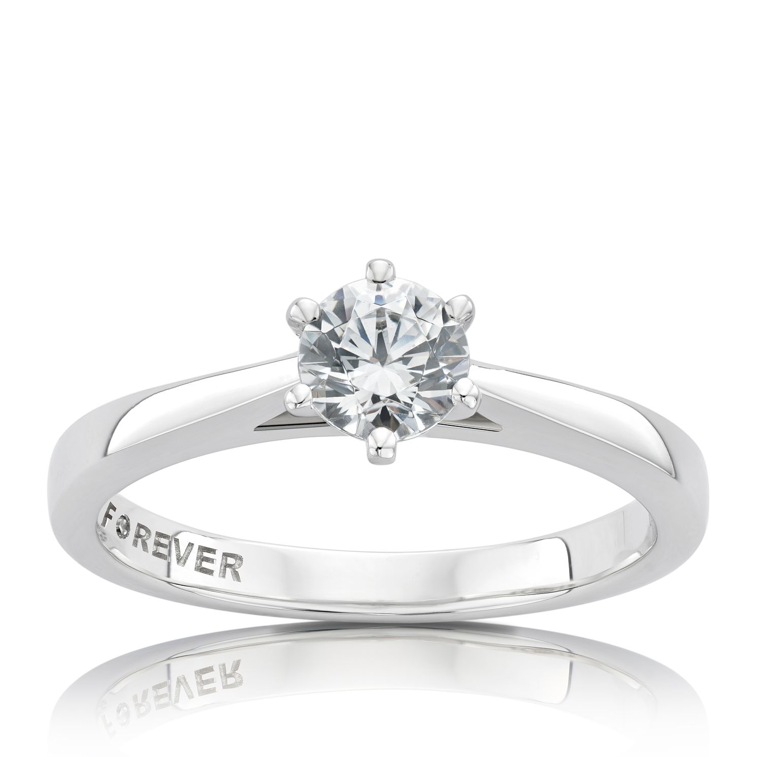 The Forever Diamond Platinum 1/2ct Round Diamond Ring - Product number 5070996