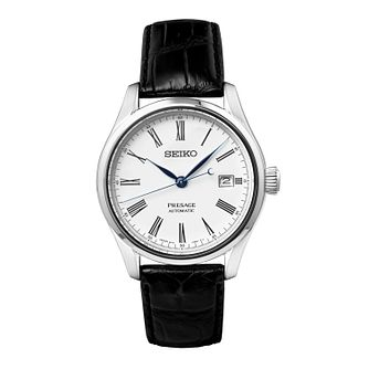 Seiko Presage Men's Black Leather Strap Watch - Product number 5071569
