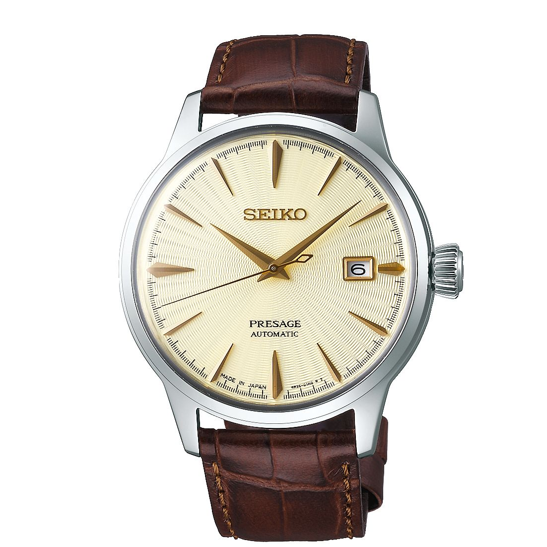 Seiko Presage Men's Brown Leather Strap Watch - Product number 5071607