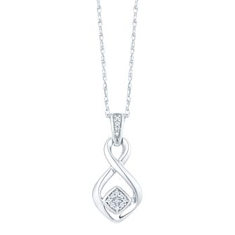 Sterling Silver Diamond Cluster Twist Pendant - Product number 5074177