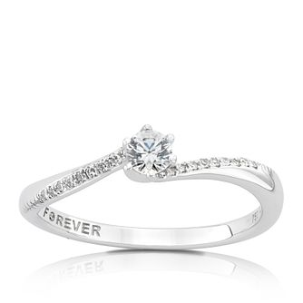 18ct White Gold 1/5ct Forever Diamond Solitaire Ring - Product number 5079845
