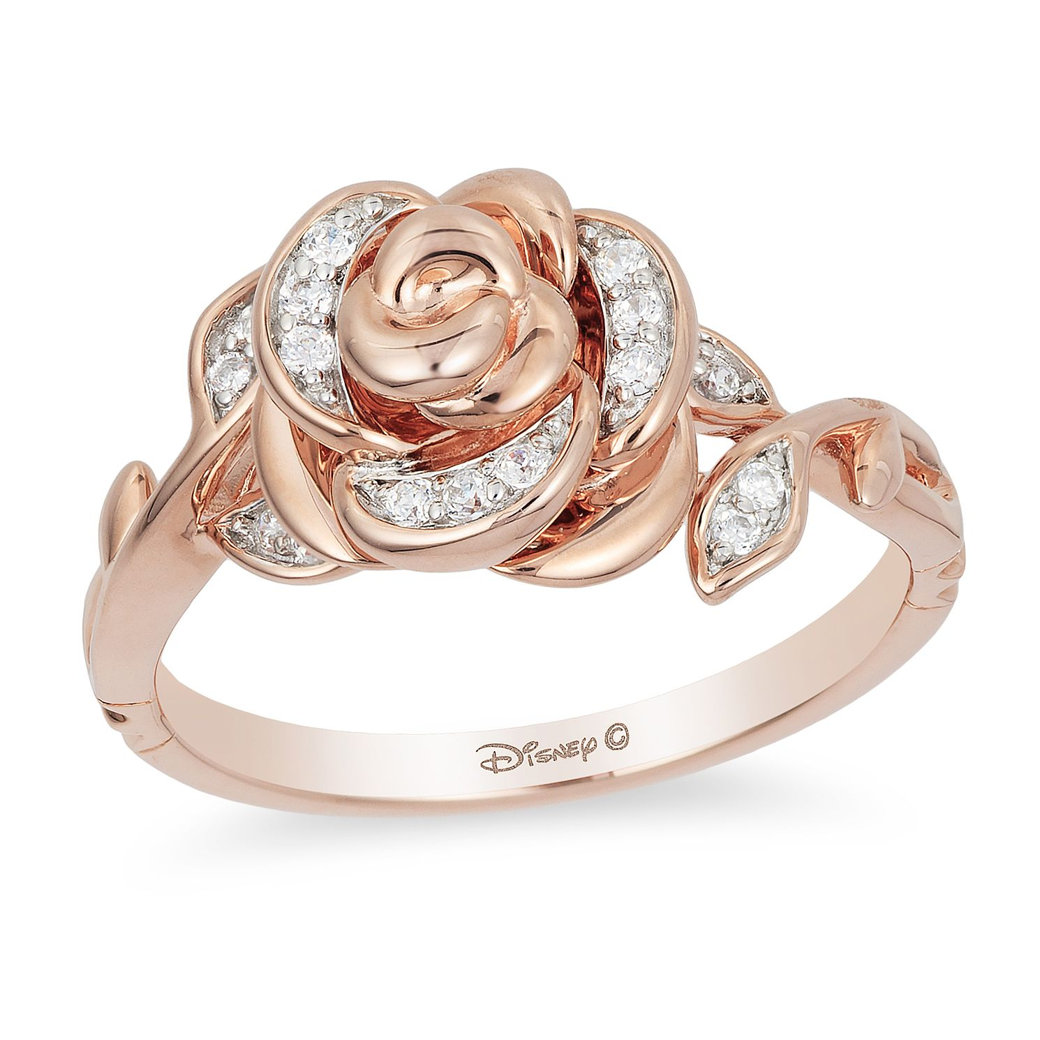 Enchanted Disney Fine Jewelry Rose Gold Diamond Belle Ring - Product number 5080681
