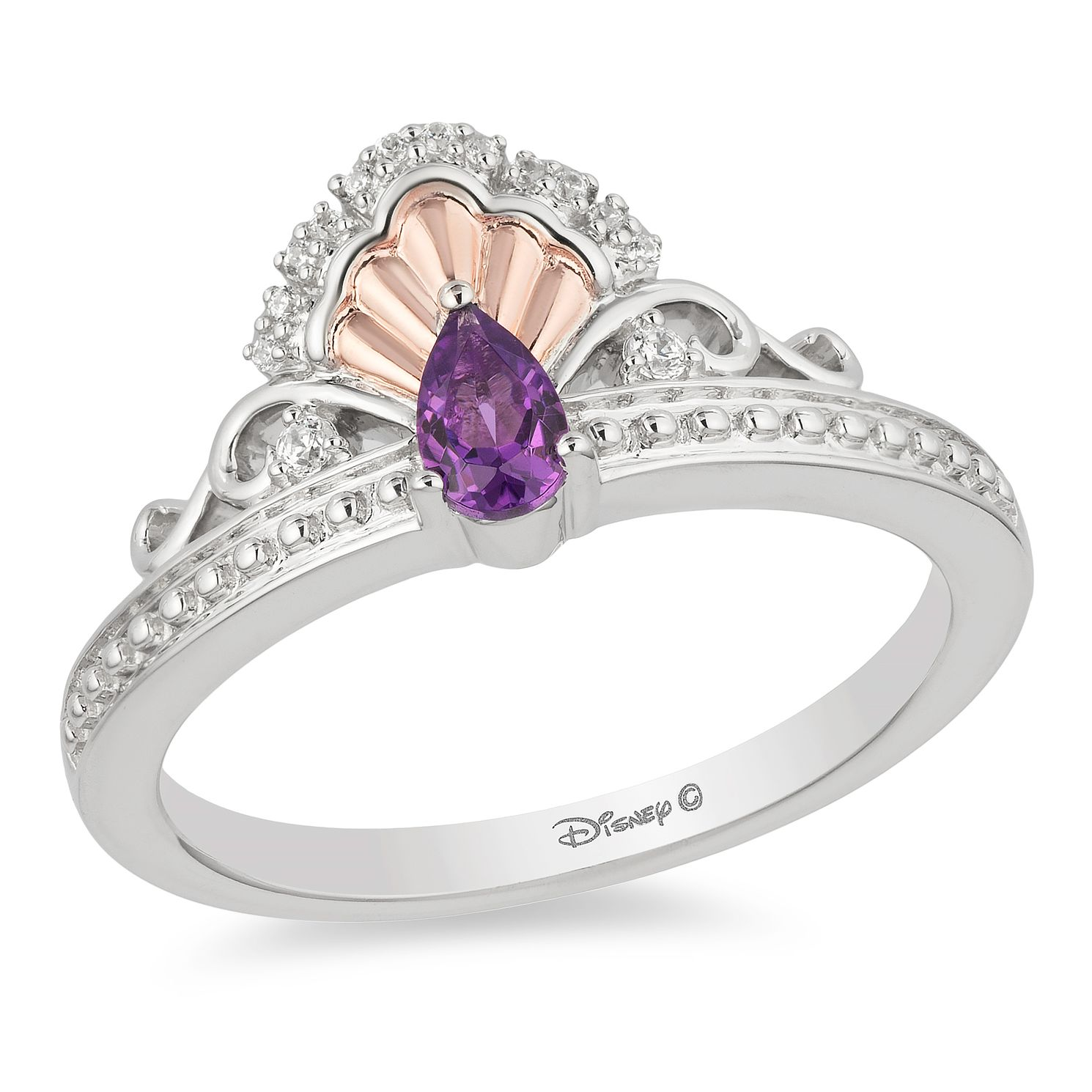 Enchanted Disney Fine Jewelry Amethyst & Diamond Ariel Ring - Product number 5081424