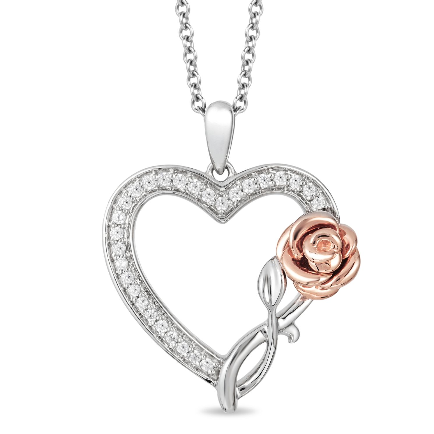 Enchanted Disney Fine Jewelry Belle Heart & Rose Pendant - Product number 5084741