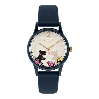 Radley 'Say it With Flowers' Navy Silicone Strap Watch - Product number 5086019