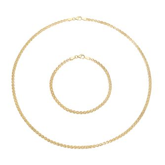 9ct Yellow Gold Fancy Chain Necklace & Bracelet Set - Product number 5086701