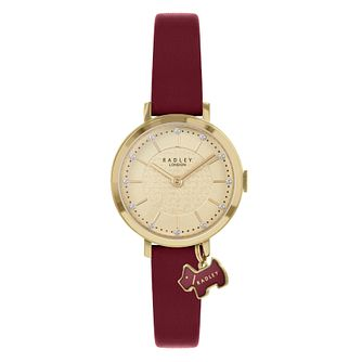 Radley Crystal Ladies' Burgundy Leather Strap Watch - Product number 5086817
