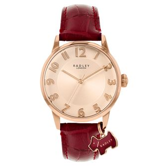 Radley Ladies' Dark Red Leather Strap Watch - Product number 5086825