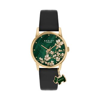 Radley Ladies' Green Dial Black Leather Strap Watch - Product number 5086876