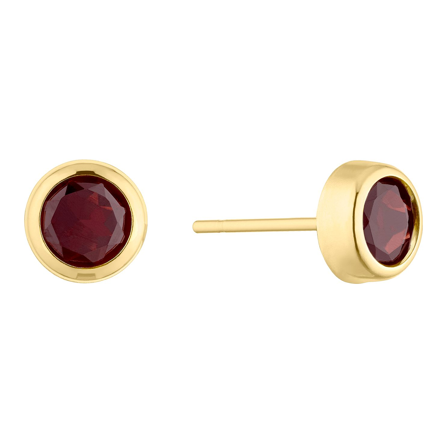 9ct Yellow Gold Rubover Garnet 5mm Stud Earrings - Product number 5087120