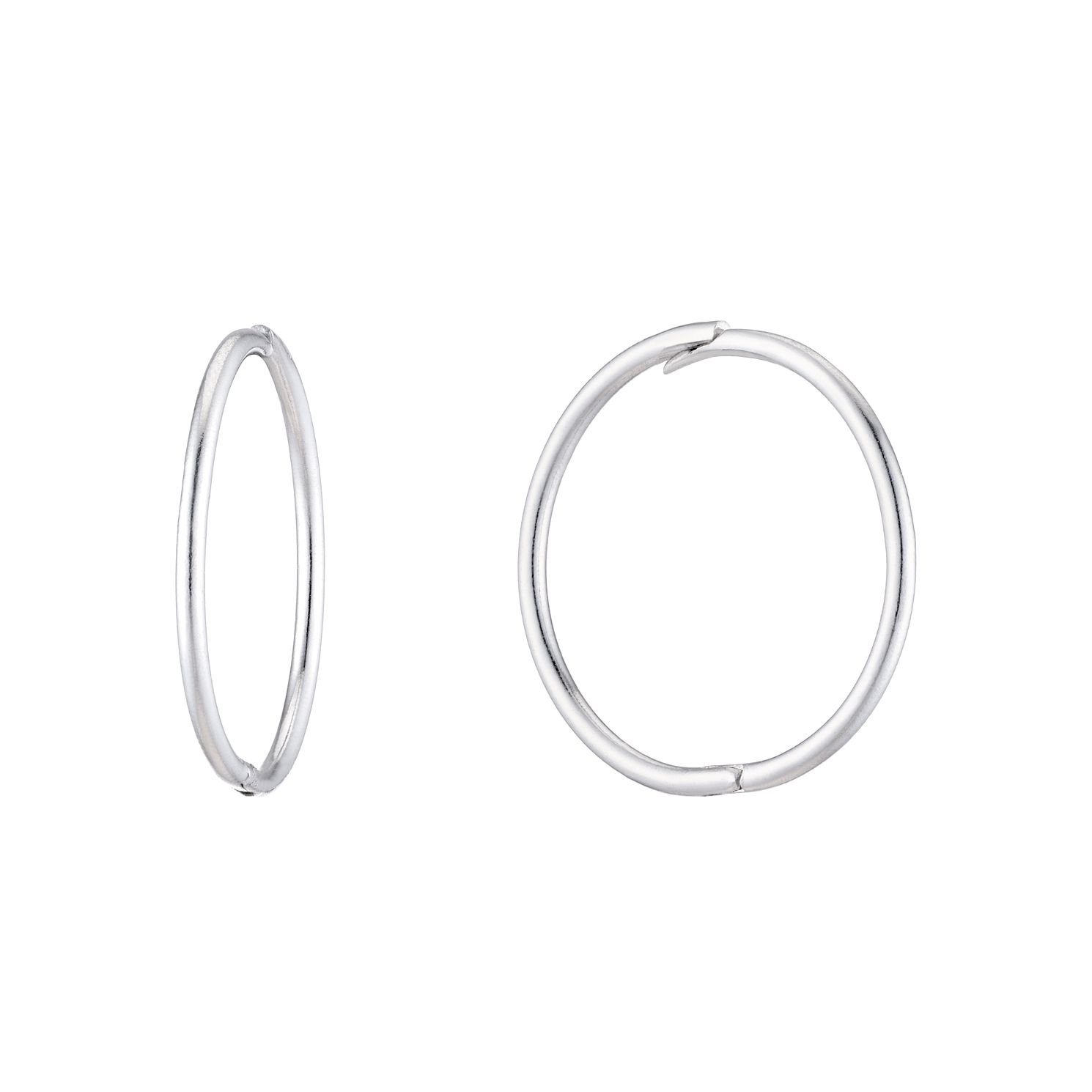 9ct White Gold Hinged 12mm Sleeper Earrings - Product number 5087155