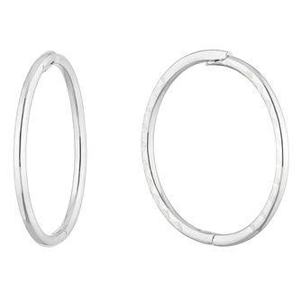 9ct White Gold Diamond-Cut Hinged 12mm Sleeper Earrings - Product number 5087163