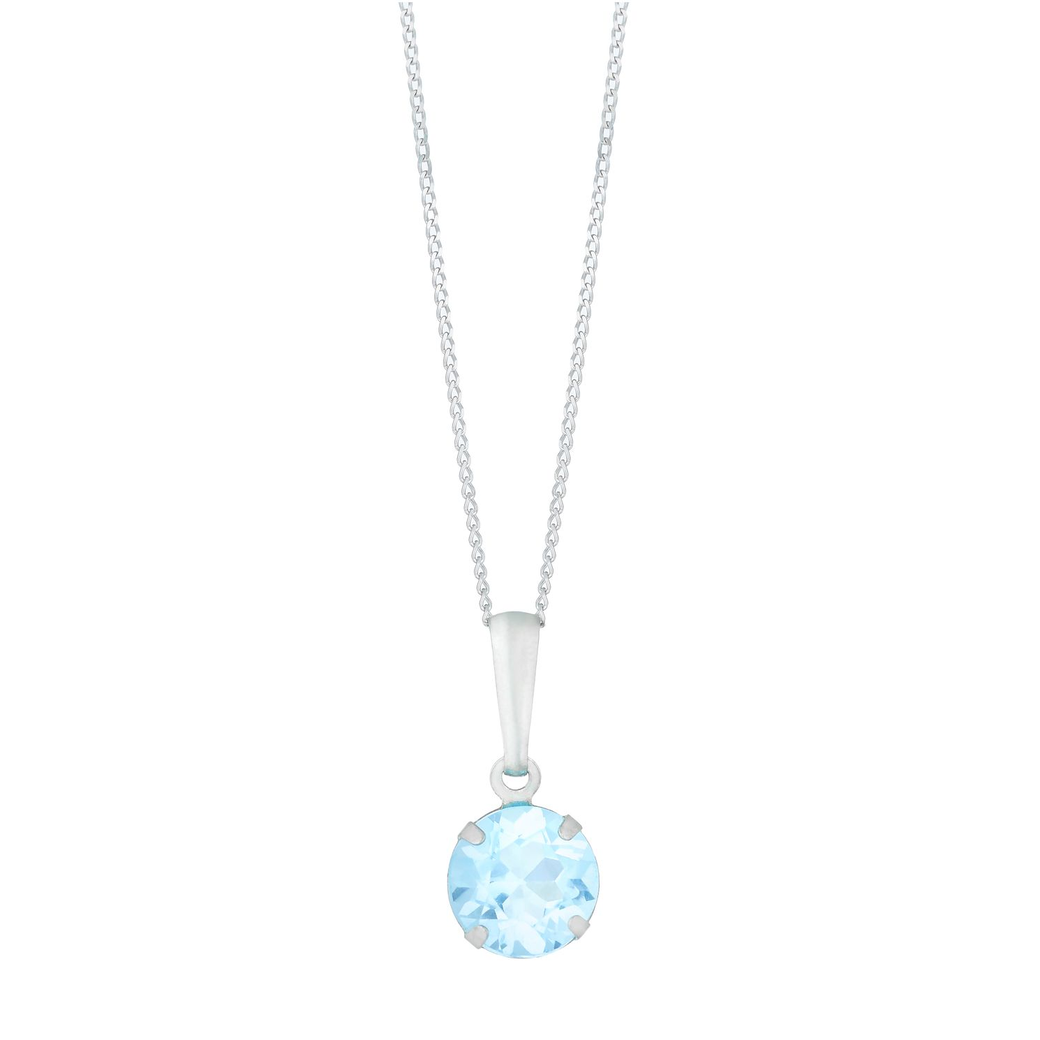 9ct White Gold Blue Topaz Round Pendant - Product number 5087201