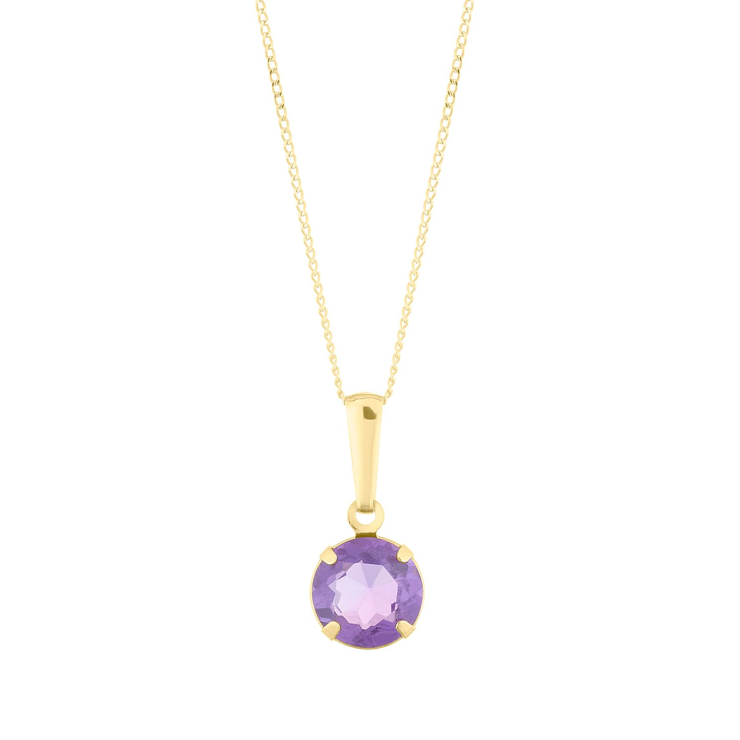 9ct Yellow Gold Amethyst Round Pendant - Product number 5087228