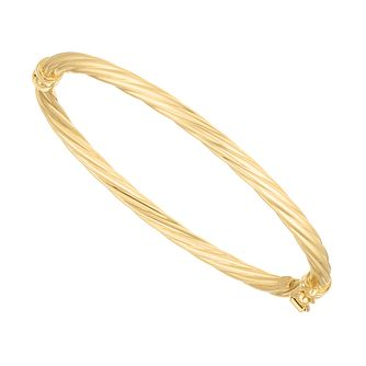 Children's 9ct Yellow Gold Twisted Hinged Baby Bangle - Product number 5087503