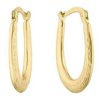 9ct Yellow Gold Diamond-Cut Oval Creole Hoop Earrings - Product number 5088003
