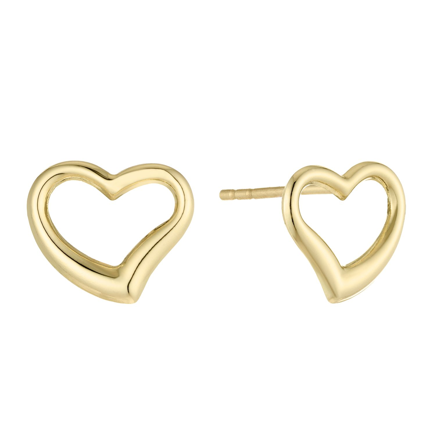 9ct Yellow Gold Open Heart Stud Earrings - Product number 5088038