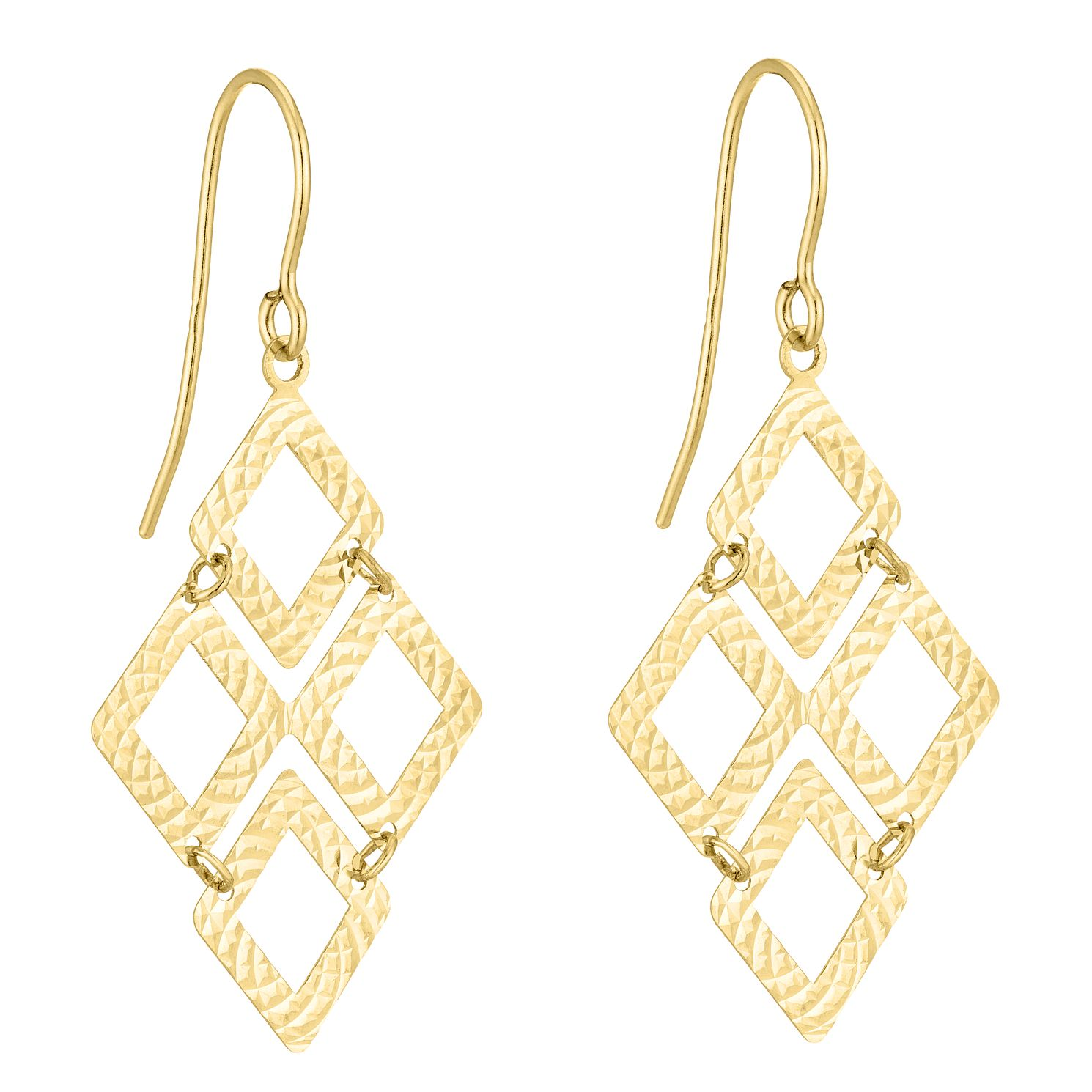 9ct Yellow Gold Diamond-Cut Geo Chandelier Drop Earrings - Product number 5088216