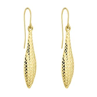 9ct Yellow Gold Diamond-Cut Long Marquise Drop Earrings - Product number 5088275