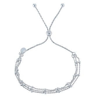 Silver Three Row Beaded Chain Friendship Adjustable Bracelet - Product number 5088291