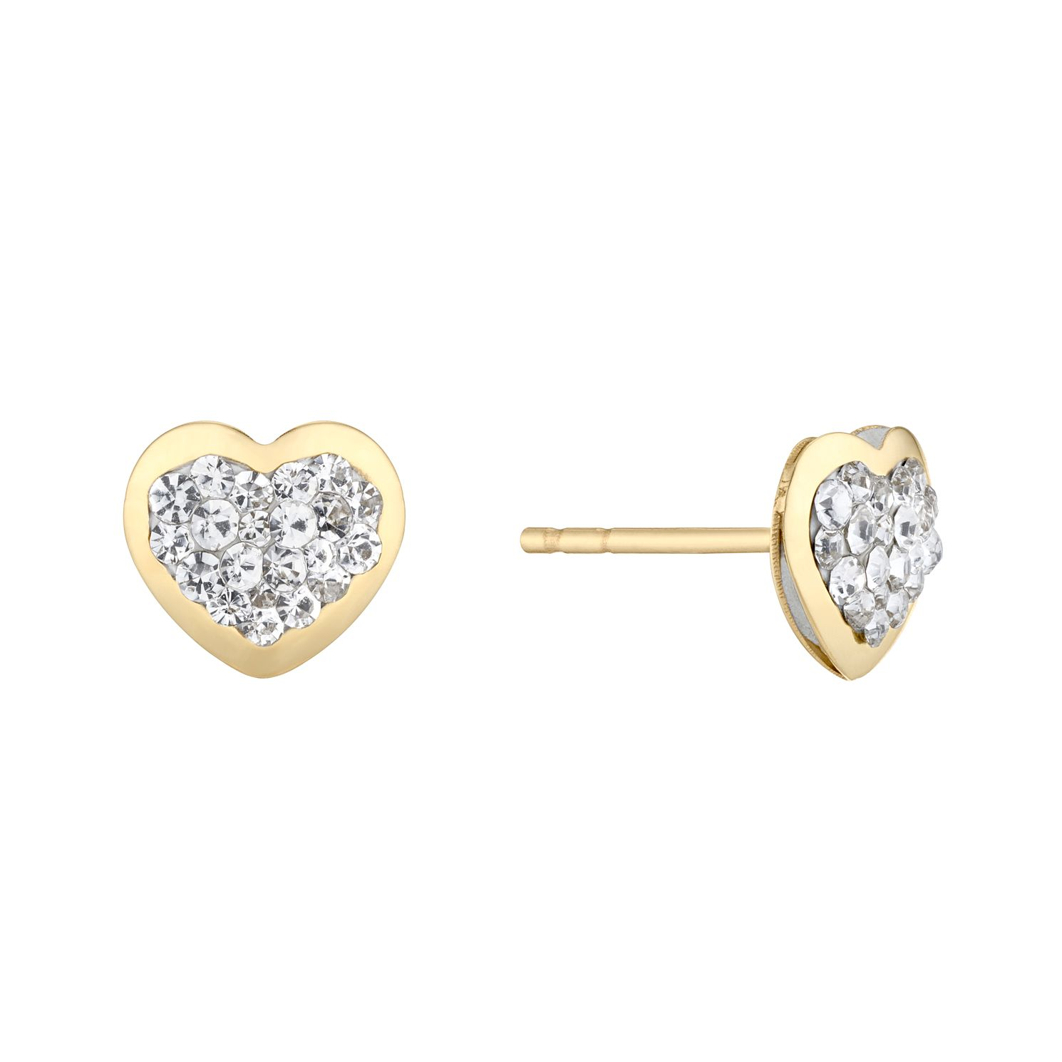 9ct Yellow Gold Crystal Heart Stud Earrings - Product number 5088526