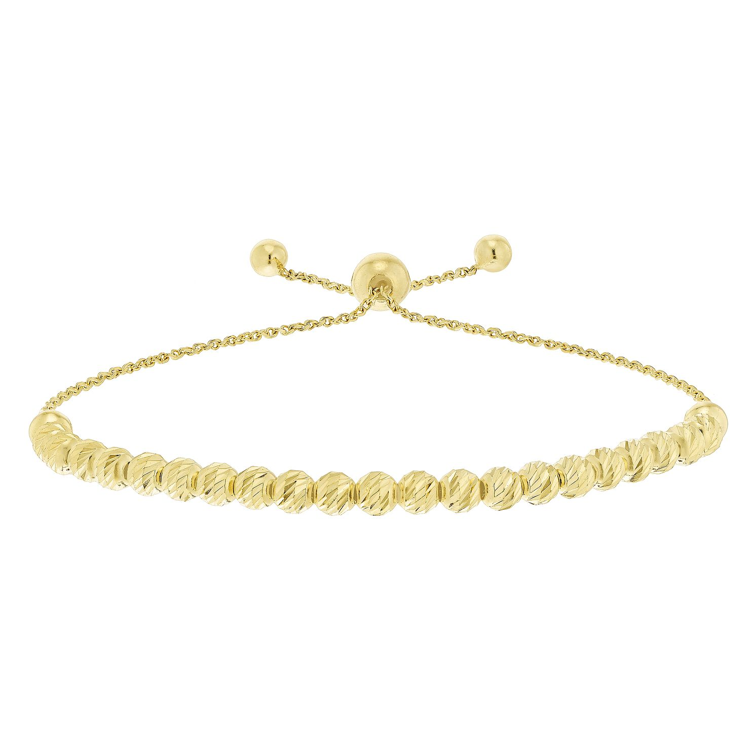 9ct Yellow Gold Large Bead Adjustable Bracelet - Product number 5088798