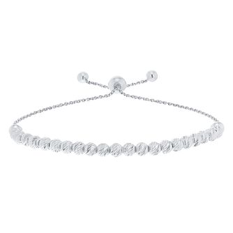 9ct White Gold Large Adjustable Bead Bracelet - Product number 5088801